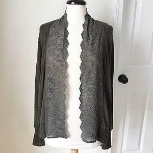 Anthropologie Lace Trim Moss Green Cardigan